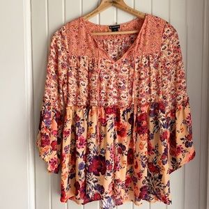 Bright Floral Boho Colorful Top